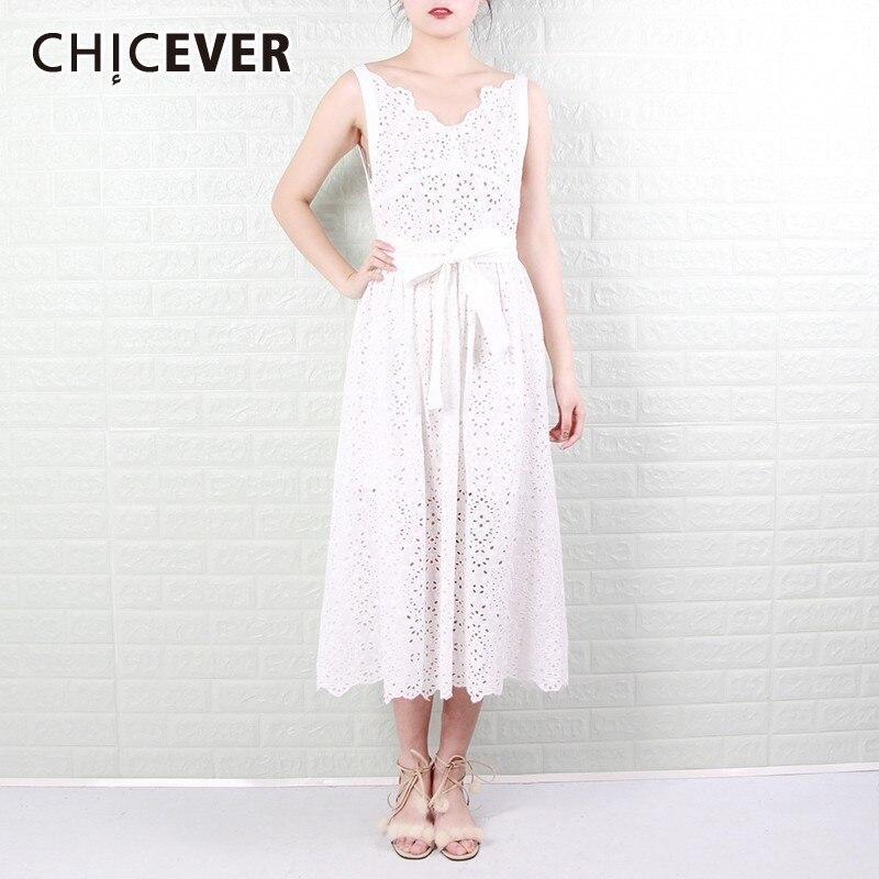 CHICEVER Off Shoulder Sexy Dress Women V Neck High Waist Sleeveless Strap Hollow Out Maxi Dresses