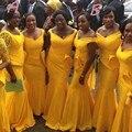 Nigerian Bridesmaid Dress Two Styles with V-neckline Pleat Ruffles Skirt Yellow Satin Floor Length Long Mermaid Bridesmaid Dress