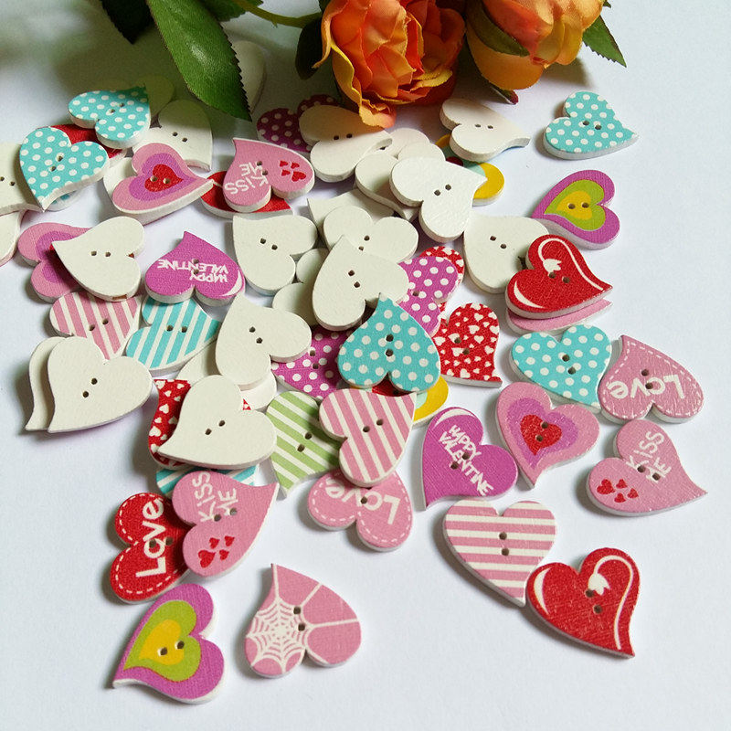 XinDong DIY 25 mm Color Mix heart Shapes Wood Button Sewing