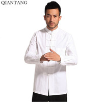 White Men Cotton Linen Long Sleeve Kung Fu Shirt Classic Chinese Style Tang Clothing Size S