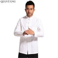 Wit Mannen Katoen Linnen Lange mouwen Kung Fu Shirt Klassieke Chinese Stijl Tang Kleding Maat Sml XL XXL XXXL hombre Camisa Mim903