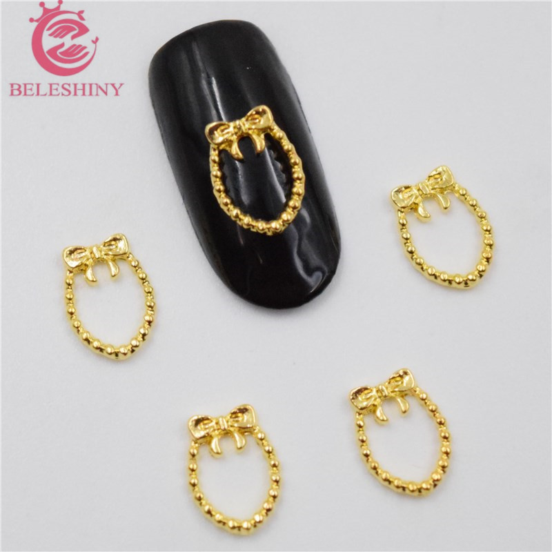 Initiative 50pcs New Gold Bow Nail Stickers 3d Metal Alloy Nail Art Decoration/charms/studs,nails 3d Jewelry Nail Supplies H081 Nails Art & Tools Beauty & Health