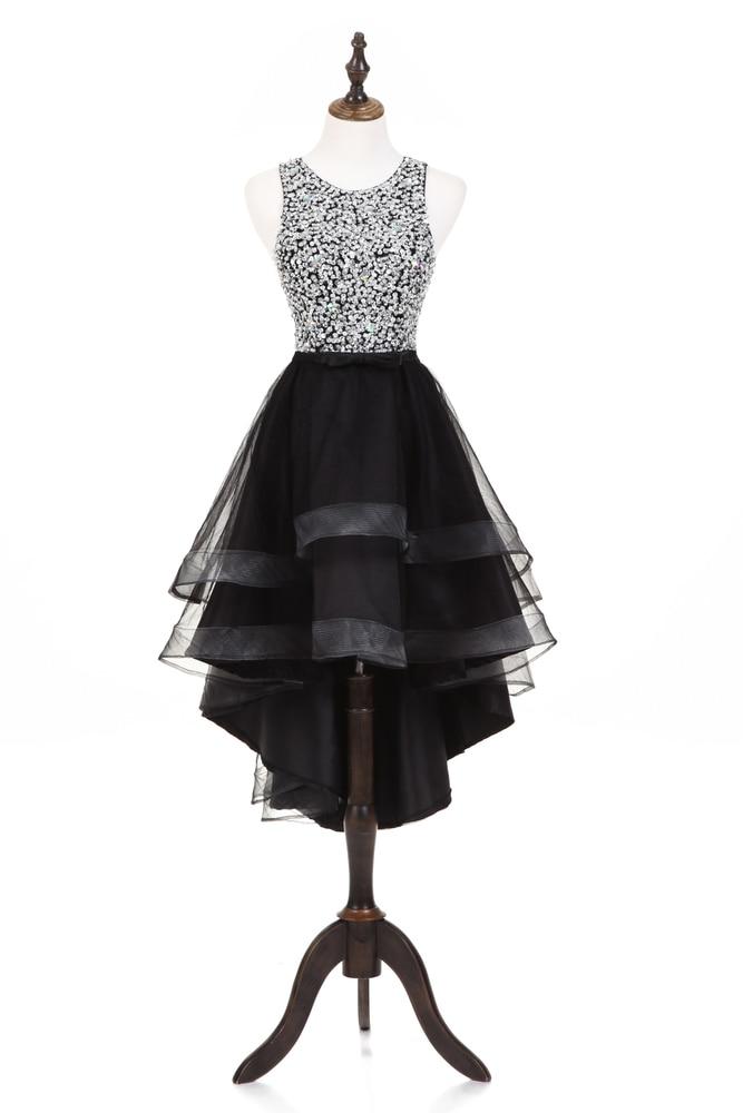 2018 Luxury Elegant Sexy Scoop Short Cocktail Dresses Women Backless Rhinestone Black Mini Cocktail Dress Prom Dress in Cocktail Dresses from Weddings Events