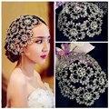 Luxury Vintage Prata Prom Pageant Crown Strass Flor Nupcial Tiara Headband Acessórios Do Cabelo Do Casamento Headpiece Bridal