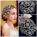 Luxury Vintage Silver Prom Pageant Crown Rhinestone Flower Bridal Headband Tiara Wedding Hair Accessories Bridal Headpiece