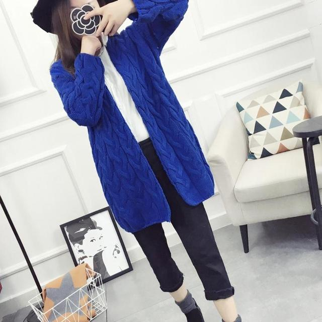 2016 winter women long cardigans thicken coat casual knitted sweaters cardigan warm outwear coat