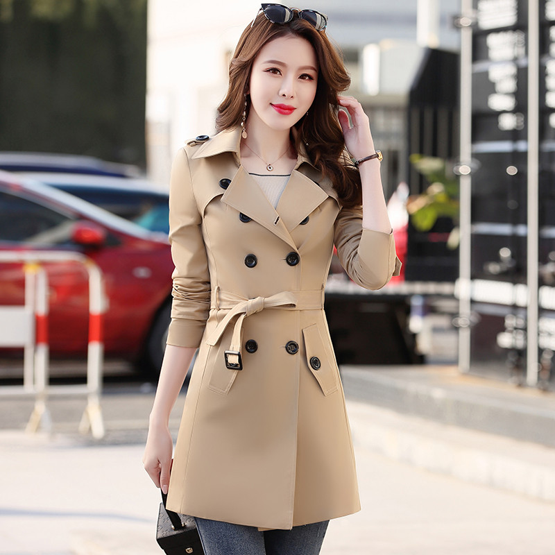 Spring   Trench   Coat Women Plus Size Trenchcoat Classic Double Breasted Mid-Long Slim Belt   Trench   Coat Waterproof Outerwear Q85