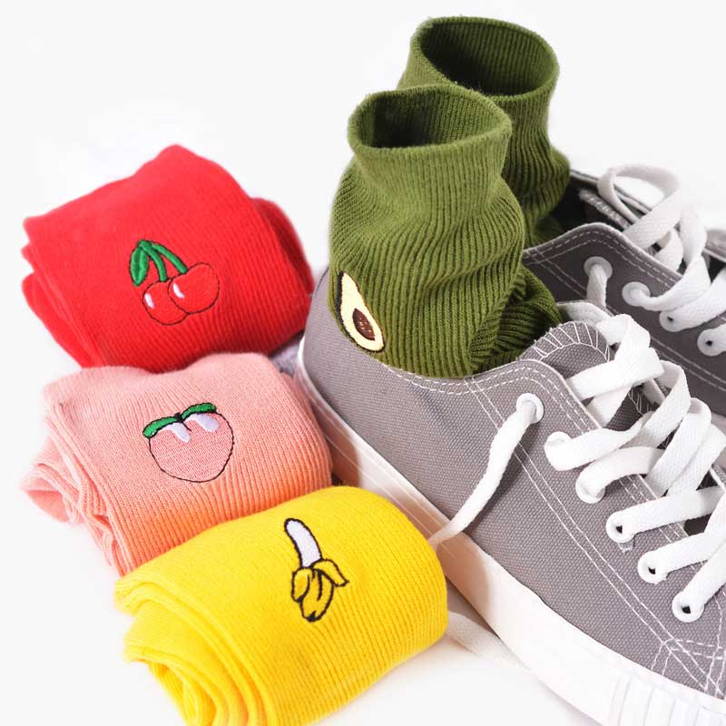 Cartoon Fruits Hipster Girls Solid Cotton Socks Embroidery Fruits Patterned Cherry Pear Avocado Patterned Art Skateboard Sox