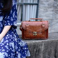 Vintage england wind japanese style mori girl shoulder bag PU copy leather crossbody bag postmen women handle bag