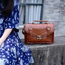 Vintage england wind japanischen stil mori mädchen umhängetasche PU kopie leder crossbody tasche briefträger frauen griff tasche