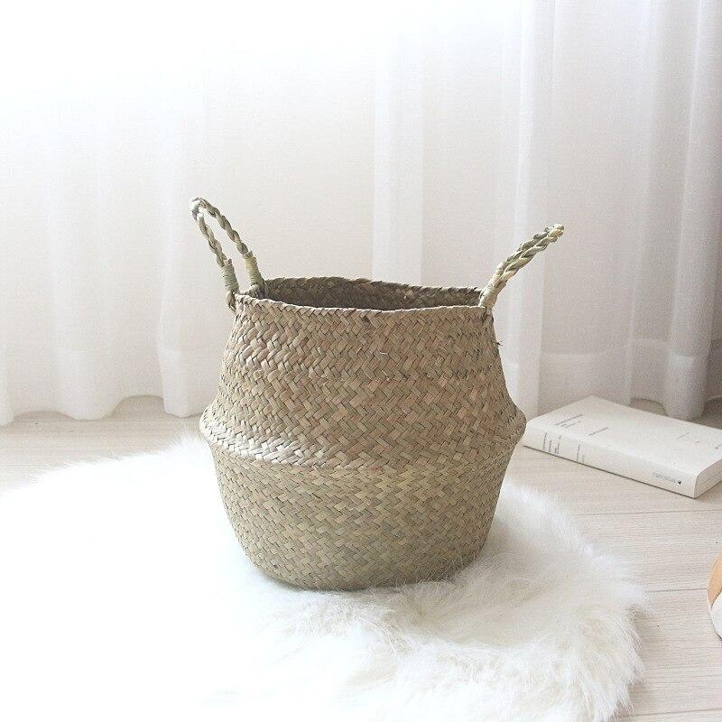 NS Nordic seaweed rattan braided basket folding double ear receptive handmade for decorative storage
