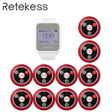 RETEKESS Wireless Waiter Calling System Customer Service For Restaurant 1 white Watch Receiver + 10 Call Button Wireless Pagers цена