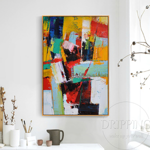 Image 4 - Fashion Wall Art Hand painted Rich Colors Abstract Oil Painting on Canvas Big Brush Knife Abstract Oil Painting for Living Room