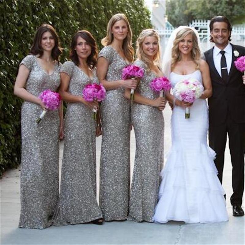 2016 Sparkling Cheap Long font b Bridesmaid b font font b Dresses b font Backless Sequined