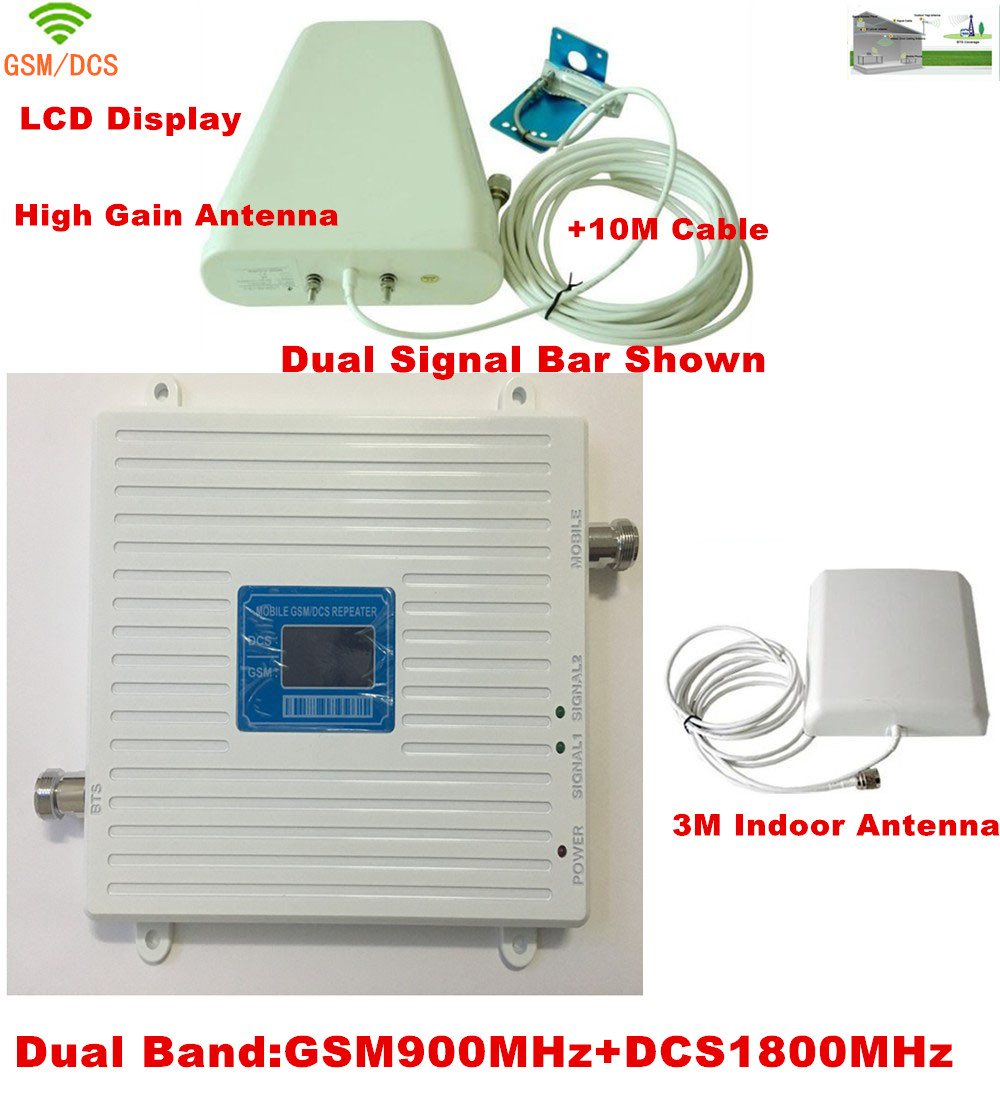 Newest 2017 GSM DCS Booster! FDD Mobile Phone Signal Repeater 2G GSM 900MHz 4G DCS 1800MHz Signal Booster Amplifier With Antenna