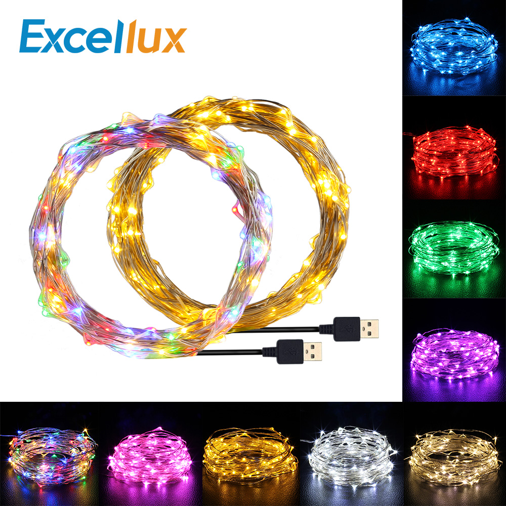 LED String Lights 10M 5M 2M Cooper Wire Garland Home Christmas Wedding Party Decoration Led Light String Battery USB Fairy Light