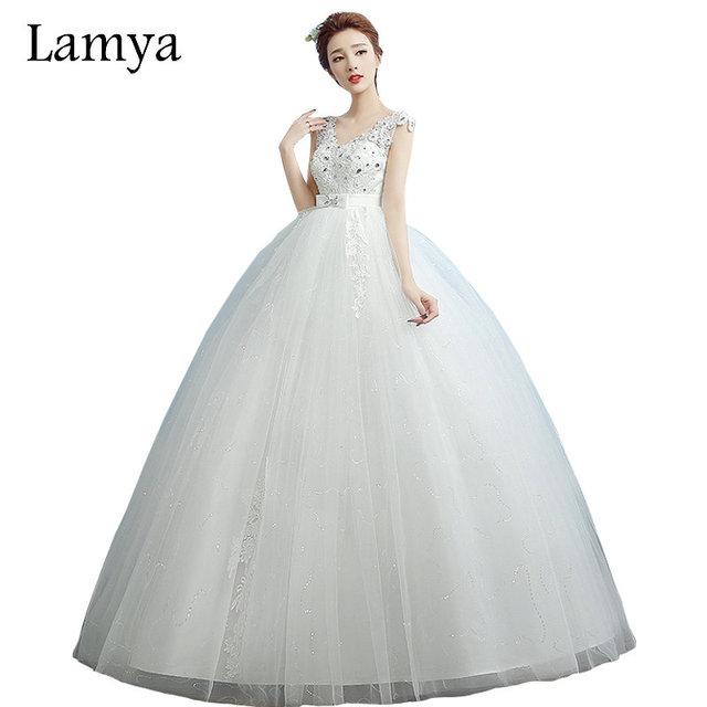 LAMYA Plus Size Pregnant Sexy V-Neck Lace Wedding Dress 2018 Off-White  Bridal c3d8f5c6094f