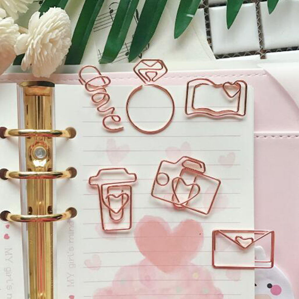 1Pcs Rose Gold Paper Clips Bookmark Planner Tools Scrapbooking Tools Memo Clip Metal Binder Paperclip