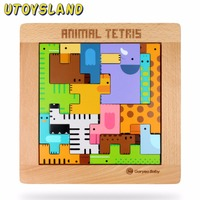 UTOYSLAND Cute Animal Cartoon Tetris Puzzle Wooden Tangram Kids Toys Board Game Educational Toys for Children Girls Boys Jigsaw