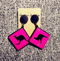 2017 fashion acrylic rhombus marks kangaroo charm women gift big earrings brinco wholesale nightclub Earring pendiente