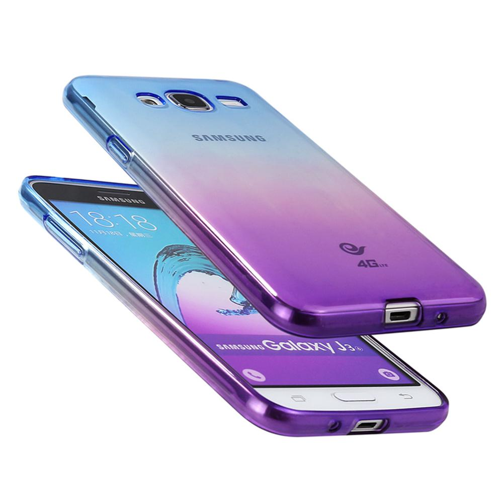 Case For Samsung Galaxy J3 2016 2015 J320 J320f Silicone Cover Cute Clear Gratis Tempered Glass Ultrathin Soft Gradient Transparent Back In Half Wrapped From