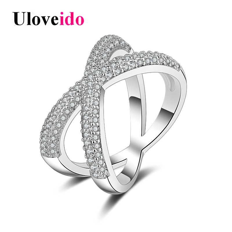 Uloveido Rings for Women Infinity Ring with Stone Decorating Cubic Zirconia Engagement Wedding Jewelry Eternal Love Gifts JZ024