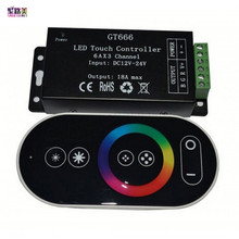 wholesale 1 pcs DC12-24V 6Ax3channel RBG controller GT666 Touch led controller for 5050 RGB led strip lights free shipping