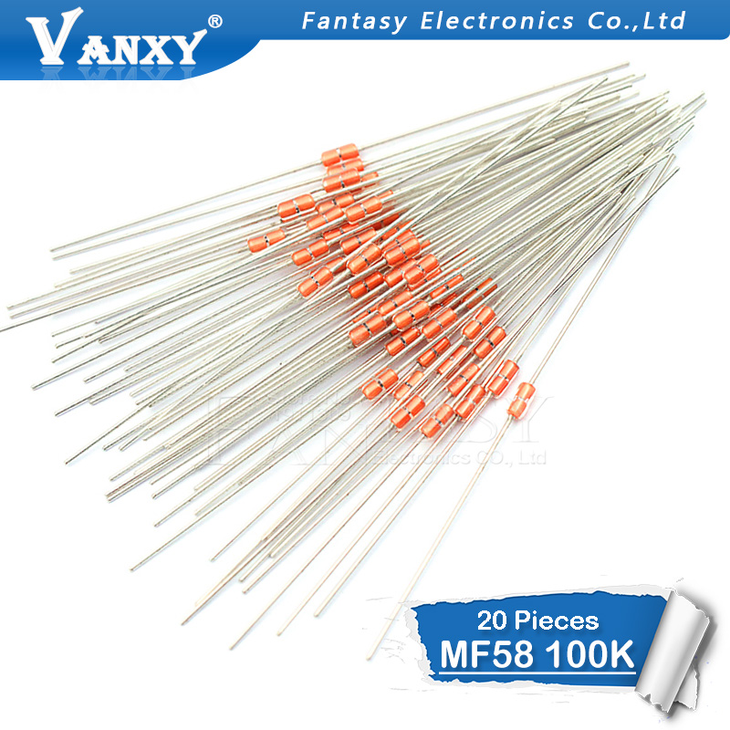 20 Pcs Thermal Resistor NTC MF58 3950 B 100K Ohm 5%