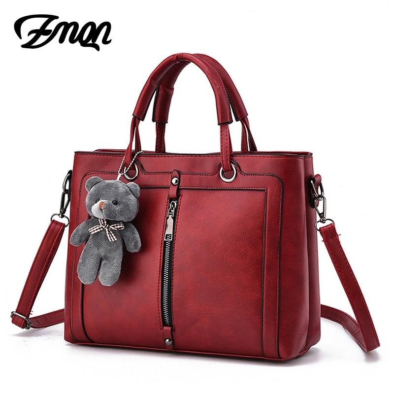 Luxury Women Leather Handbag Red Retro Vintage Bag ...