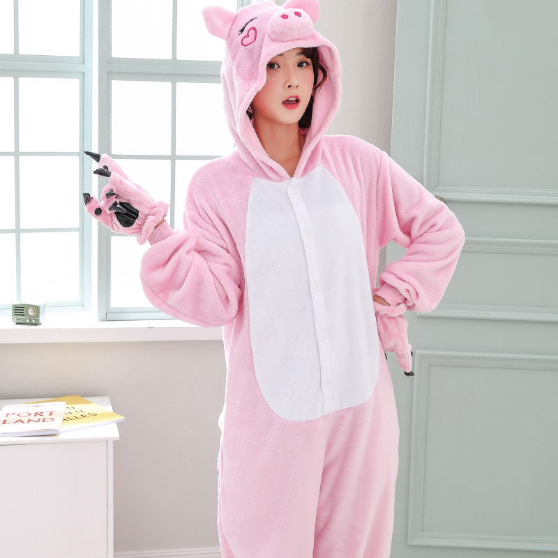 Cute Pink Pig Women Pajamas Onesies For Night-suit Set At Home Party Adult Kigurumi For Halloween Cosplay Siamese Costume   (1)