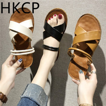 HKCP 2019 new soft-soled flat summer sandals for womens fashion gladiator shoes, Korean version of the school sandal C464