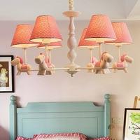 HGhomeart éclairage à la maison moderne LED lustre bleu garçon chambre en fer forgé lustre bébé 110 ~ 220 v de bande dessinée en bois lustre