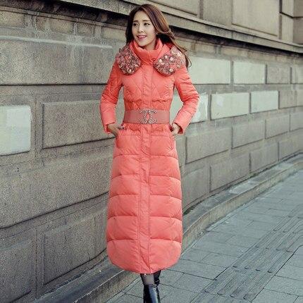Cheap New 2015 Women Print Slim Waist Down Parkas Fashion Ladies Over The Knee Wadded Overcoat Winter Coat Women Plus Size XXL H5651