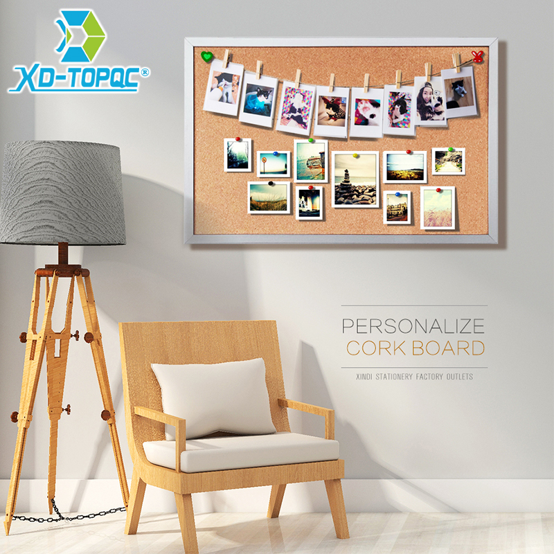 45*60cm Double Sides Cork Board Wooden Frame Push Pin Bulletin Board 11 Colors Office Supplier Home Decorative Free Accessories