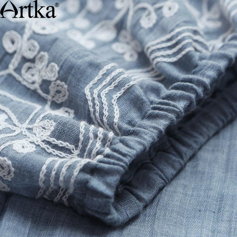 La 2018 Taille D'été Vintage Robe Artka Broderie La11776x Bouffée Couleur Solide De Cordon Femmes Confortable Mode Manches À FRqWqwnC6