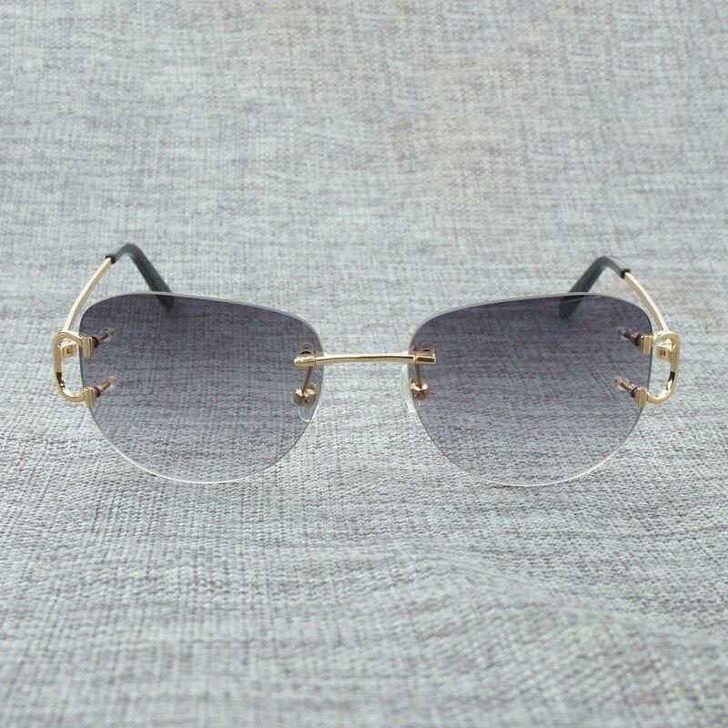 c605ea01b9 Gafas de sol sin montura Vintage para hombre, Gafas de sol ovaladas, Gafas  de sol para mujer, para verano, Gafas al aire libre
