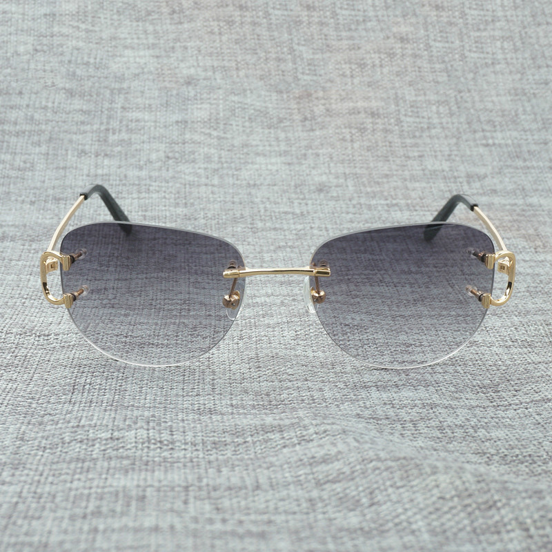 Vintage Rimless Sunglasses Men Oval Sun Glasses Frame Eyewear Women for Summer Outdoor Shades Oculos Gafas in Men 39 s Sunglasses from Apparel Accessories