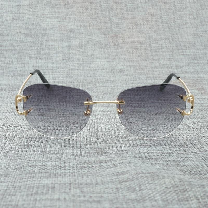 Vintage Rimless Sunglasses Men Oval Sun Glasses Metal Frame Eyewear Women for Summer Outdoor Shades Oculos Gafas