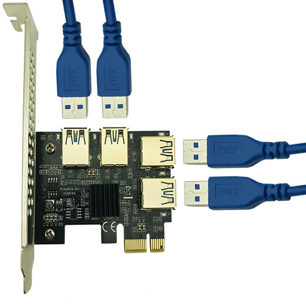 PCIe 1 à 4 PCI express 16X Riser carte de minage PCI-E 1X à Externe 4 PCI-e slot SATA alimentation pour BTC mineur Antminer Minière