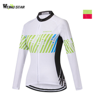 Weimostar Green Pink Road Cycling Jersey Women Team Sportswear Racing Ropa Ciclismo Long Sleeves mtb Bicycle Cycling Clothing