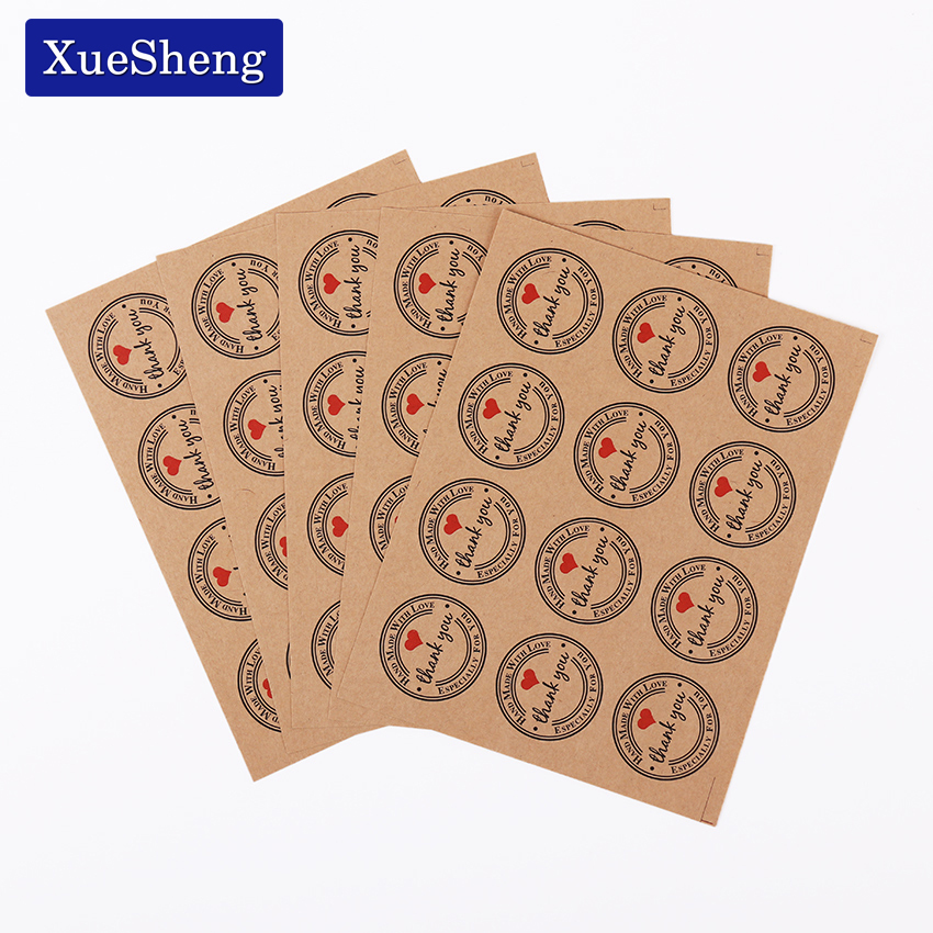 120 PCS Red Thank You Love Self Adhesive Stickers Kraft Label Sticker Diameter 3cm For Diy Hand Made Gift Cake Candy Paper Tags dhl self adhesive matte white a4 kraft paper square label library book shipping label print stickers fit laser inkjet printer