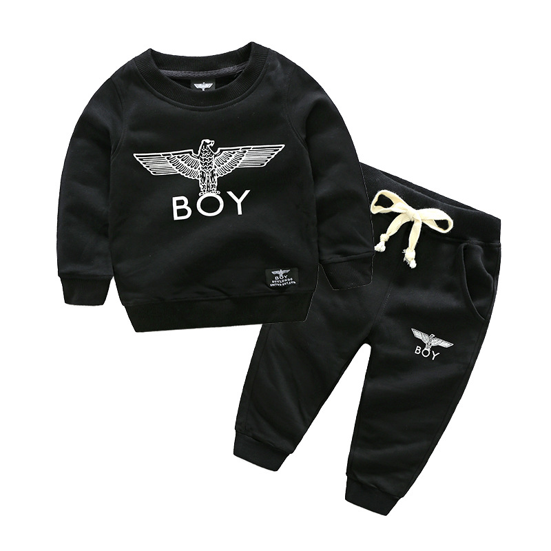 2018 Winter New Baby Boy Clothes Black Eagle Top+pants Sets Long sleeve Sweatshirt 2 Piece Set