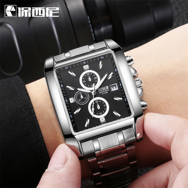 BOSCK Brand Military Quartz Sport Mens Watch Square Stainless Steel Strap Watches Casual Wristwatch Full Steel Men Watch Watches