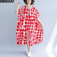 DIMANAF Women Dress Plus Size Summer Femme Vestidos Large Clothing Print Dot Red Elegant Lady Loose Long Beach Dresses 130KG Fit
