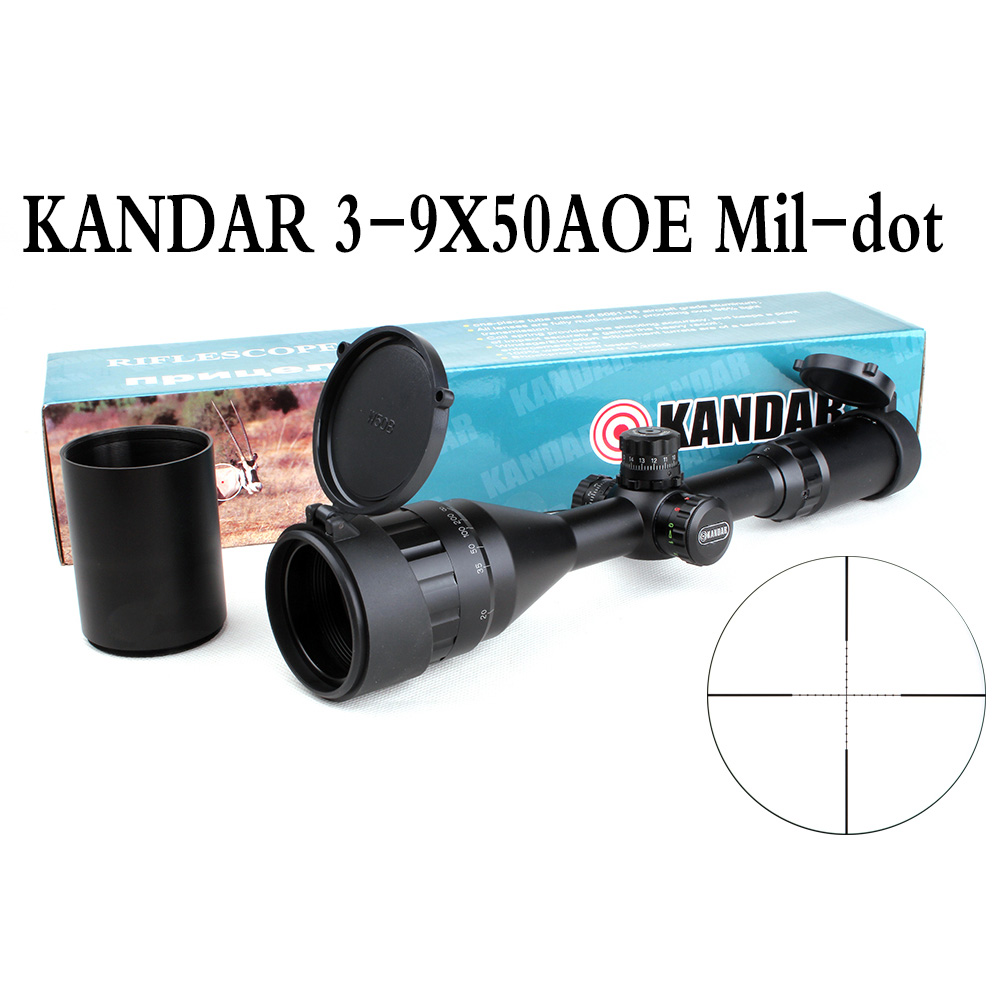 Tactical Optical Sight KANDAR 3-9x50 AOE Mil-dot Reticle RifleScope Locking/Resetting Hunting Rifle Scope tactial qd release rifle scope 3 9x32 1maol mil dot hunting riflescope with sun shade tactical optical sight tube equipment