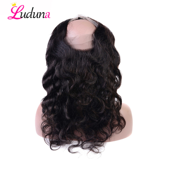 Luduna Body Wave Human Hair 360 Lace Frontal Closure Pre Plucked With Baby Hair Natural Hairline Remy Hair Closure Frontals