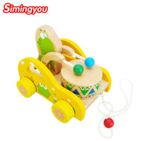 Simingyou子供のおもちゃカエルノックドラムブナ木材トロリー木材ドラッグおもちゃ車educationa B40-JF29ドロップ無料