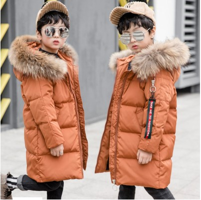 2017 design long down jackets hooded fluff kids school big boy girl overcoat long coat solid color light down clothes boy girl 2017 new design girl boy thick jackets real fur hooded long coat kids big girl for cold russia winter clothing dress overcoat