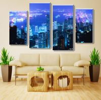 4 panel sets beautiful waterfall landscape painting flowers modern pictures on canvas artwork print customized picture a-10-180