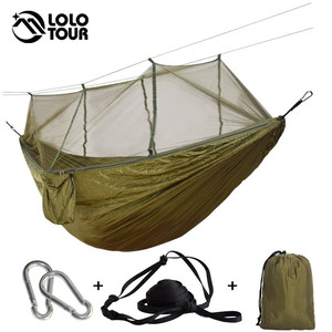 Image 3 - 1 2 Person Outdoor Mosquito Net Parachute Hammock Camping Hanging Sleeping Bed Swing Large Stocking